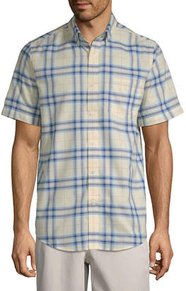 ST. JOHN'S BAY Mens Short Sleeve Plaid Button-Front Shirt