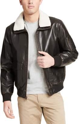 Dockers Men's Maverick Faux-Leather Aviator Bomber Jacket