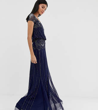 Amelia Rose Tall baroque embellished cap sleeve maxi dress in navy