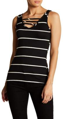 Poof Ladder Strap Striped Tank Top