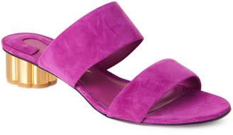 Salvatore Ferragamo Astro Belluno Flower-Heel Slide Sandals