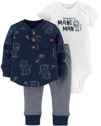 "Carter's Baby Boy Mommy's Mane Man"" Bodysuit, Thermal Henley & Lion Pants Set"