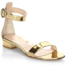 Gianvito Rossi Portofino Metallic Flat Sandals