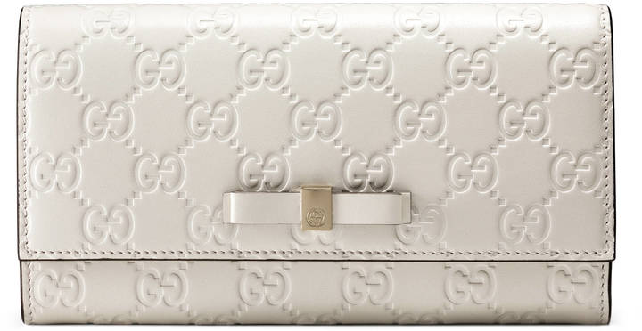 Gucci Bow Gucci Signature continental wallet