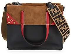 Fendi Women's Leather& Suede Tri-Tone Foldover Tote