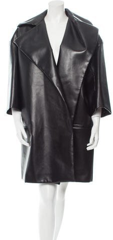 Celine Céline Knee-Length Faux Leather Coat