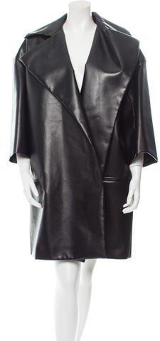 CelineCéline Knee-Length Faux Leather Coat