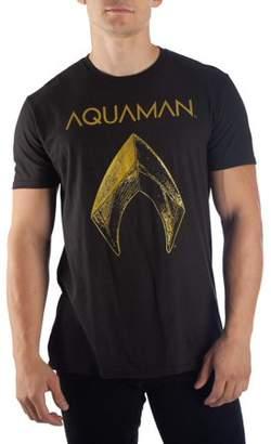 7e91963d9 Super Heroes Men's DC Comics Aquaman Metallic Logo Short-Sleeve Black Tee