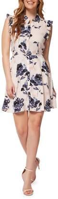 Dex Floral Flutter-Sleeve Shirtdress