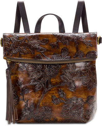 a3db70db94ca Patricia Nash Bark Leaves Luzille Embossed Leather Backpack