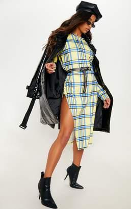 PrettyLittleThing Burgundy Stripe Midi Jumper Dress