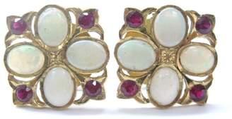 22K Opal & Ruby Yellow Gold Earrings
