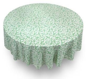 "Carnation Damask Scroll Premum Quality Vinyl Flannel Back Tablecloth 70"" Round"