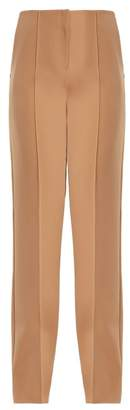Diane von Furstenberg High Rise Straight Leg Crepe Trousers - Womens - Camel