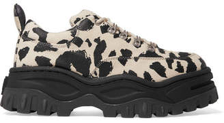 Eytys Angel Leopard-print Cotton-canvas Platform Sneakers - Leopard print