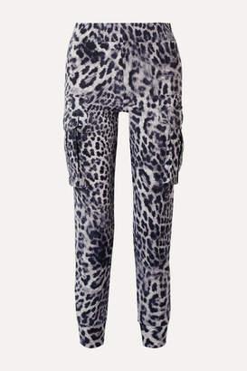 Norma Kamali Leopard-print Stretch-jersey Track Pants