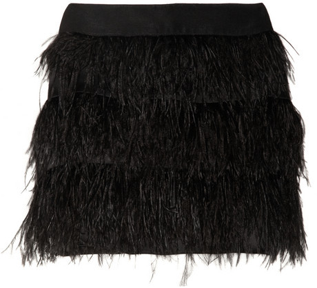 Milly Feather and silk-organza mini skirt