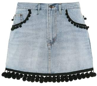 Marc Jacobs Pompom-trimmed denim miniskirt