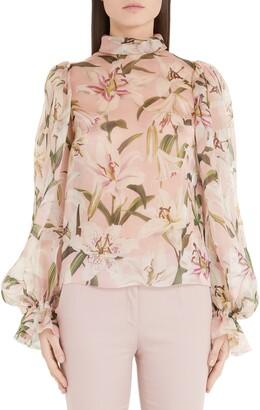 Dolce & Gabbana Lily Print Organza Puff Sleeve Blouse