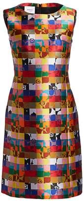 Akris Punto Floral Squared Jacquard Sleeveless Shift Dress