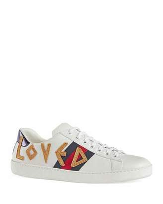 Gucci Men's New Ace Loved Low-Top Sneakers