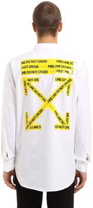 Off-White Off White Oversize Fire Line Cotton Poplin Shirt