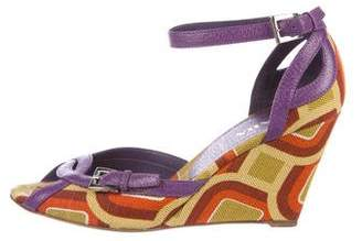 Prada Woven Wedge Sandals