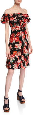 Astr Cassidy Lace-Up Floral Ruffle A-Line Dress