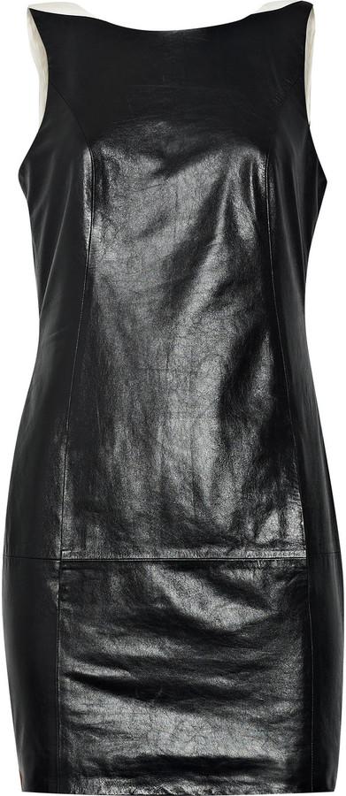 Theyskens' Theory Delia glazed-leather mini dress