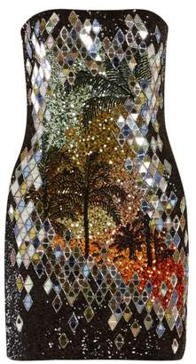 Balmain Palm Tree Sequinned Mini Dress - Womens - Black Multi