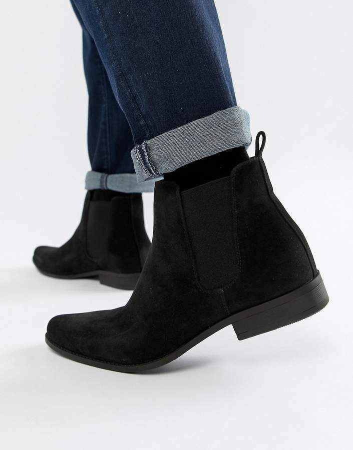 asos chelsea boots in black faux suede shopstyle co uk