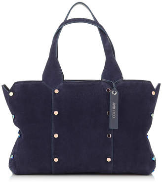 Jimmy Choo LOCKETT SHOPPER/S Navy Suede Tote Bag with Iridescent Studs