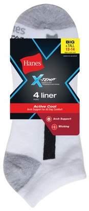 Hanes Men's Big & Tall X-Temp No Show Socks 4-Pack