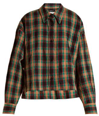 Isabel Marant Macao Checked Cotton And Linen Blend Shirt - Womens - Green Multi