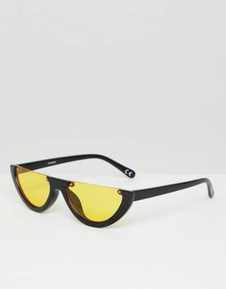 5dd910ccac Asos Design DESIGN flat brow oval sunglasses with orange lens