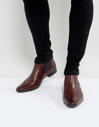 Silver Street Paisley Chelsea Boots In Burgundy Leather
