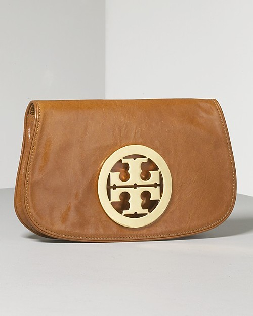 Tory Burch Women's Glazed Leather Logo Clutch