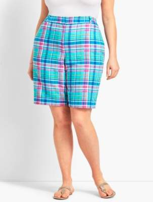"""Talbots Plus Size Exclusive 10 1/2"""" Sea Madras Perfect Short - Curvy Fit"""