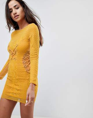 Asos DESIGN Mustard Lace Long Sleeve Mini Dress With Ring Detail