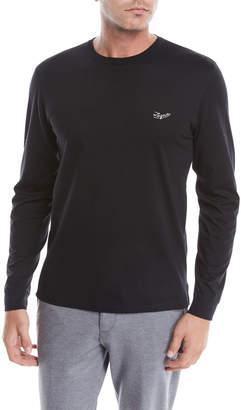 Ermenegildo Zegna Men's Long-Sleeve Logo-Embroidered T-Shirt