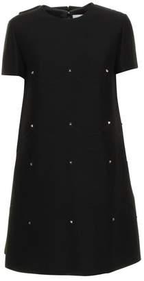 Valentino Scallop Rockstud Detail Mini Dress