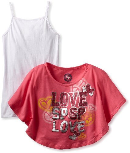 Southpole Kids Girls 7-16 Twofer Cropped Fashion Tee Shirt With Tank Top