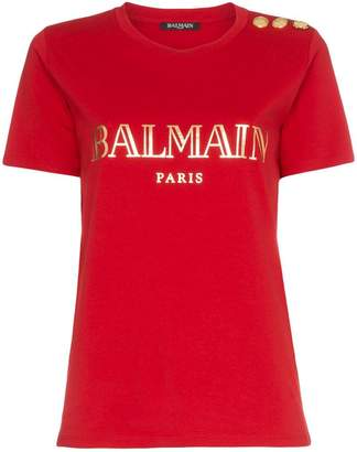 Balmain red buttoned logo print t shirt