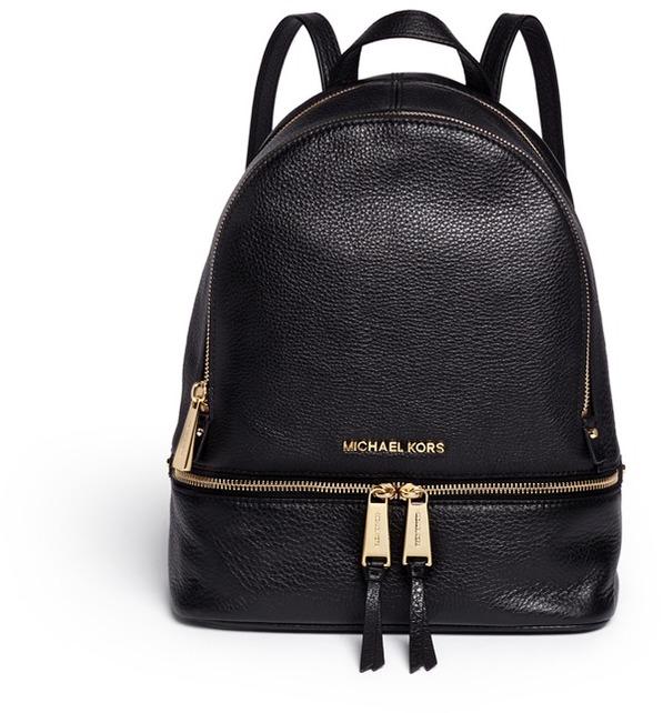 MICHAEL Michael KorsMichael Kors 'Rhea' small 18k gold plated leather backpack