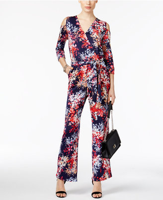 NY Collection Cold-Shoulder Printed Jumpsuit $70 thestylecure.com