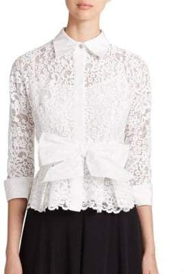Teri Jon by Rickie Freeman Lace Taffeta Blouse