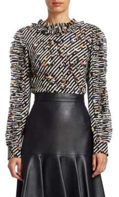 Akris Punto Crossroad Ruffle Sleeve Silk Blouse