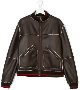 Dondup Kids faux leather bomber jacket