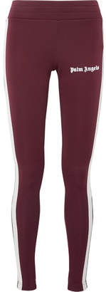 Palm Angels Printed Striped Stretch-jersey Leggings - Burgundy