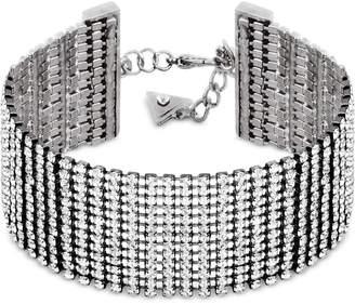 GUESS Silver-Tone Crystal Rhinestone Wrap Bracelet